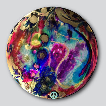 """Original Art"" Heart & Crown Chakra 12"" Diameter Mixed Media On Aluminum"
