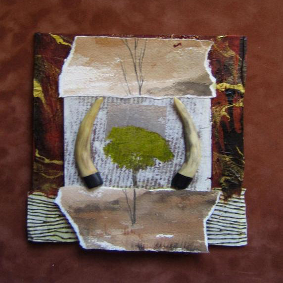 """Original Art"" Longhorn Ranch 9"" x 9""/Mixed Media Collage On Board"