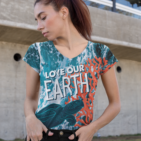 Love Our Earth All Over Print Women's V-neck, Limited Edition Earth Day 2019 Design