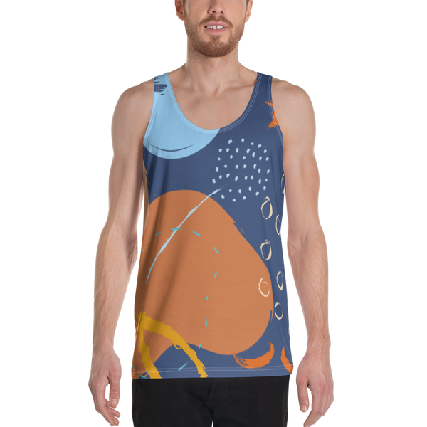 Abstract Blue/Orange All Over Print Unisex Tank Top