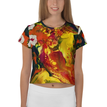 Floating Budding Blooms All-Over Print Crop Tee