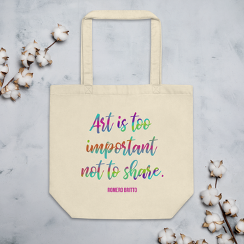 """""""Art is Too Important Not To Share."""" Romero Britto Eco Tote Bag"""