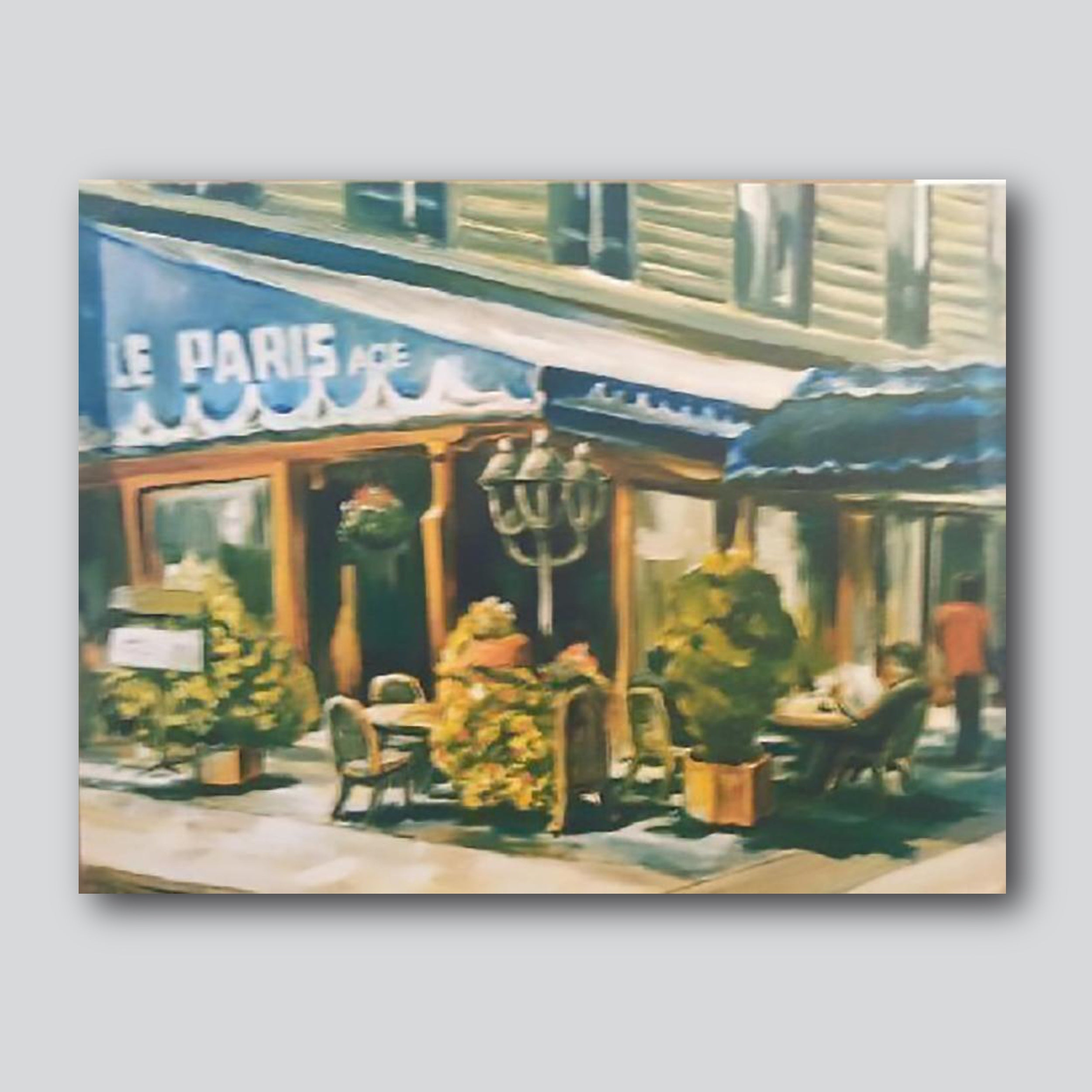 "Paris Cafe/ 32"" x 25"" Giclee Printed On Canvas"
