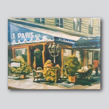 """Paris Cafe/ 32"""" x 25"""" Giclee Printed On Canvas"""