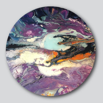 """Original Art""  Passing Through 15"" Diameter Mixed Media On Wood"