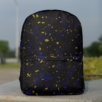 Terrazzo Tile Navy/Gold on Black Backpack