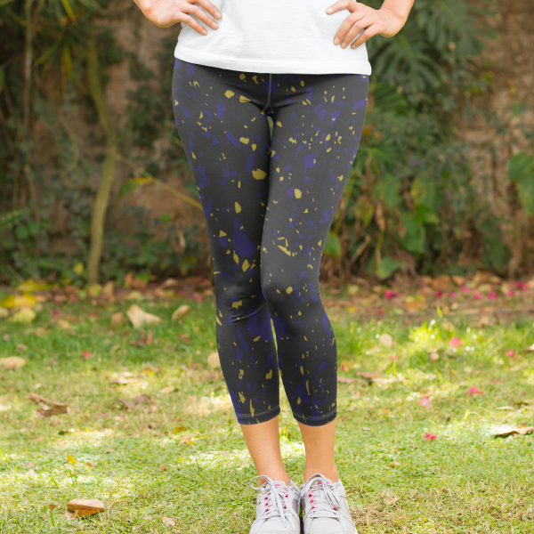 Terrazzo Tile Navy/Gold on Black Yoga Capri Leggings