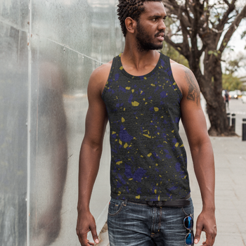 Terrazzo Tile Navy/Gold on Black All Over Print Unisex Tank Top