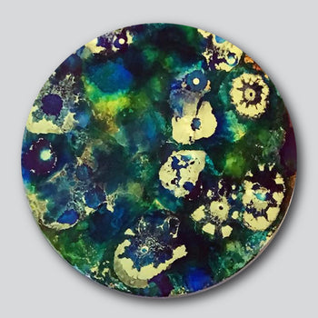 """Original Art"" The Leaves Beneath 12"" Diameter Mixed Media On Aluminum"