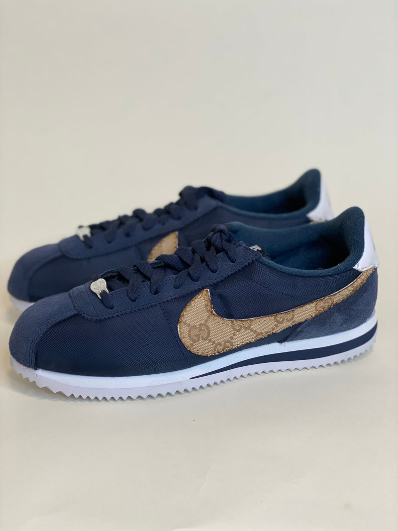 custom nike cortez with gucci swoosh - mens 7.5 (fits women's 8.5-9)