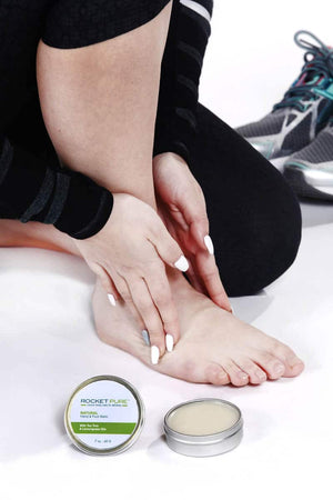 Rocket Pure Lemongrass Hand and Foot Balm applied to feet and shoes