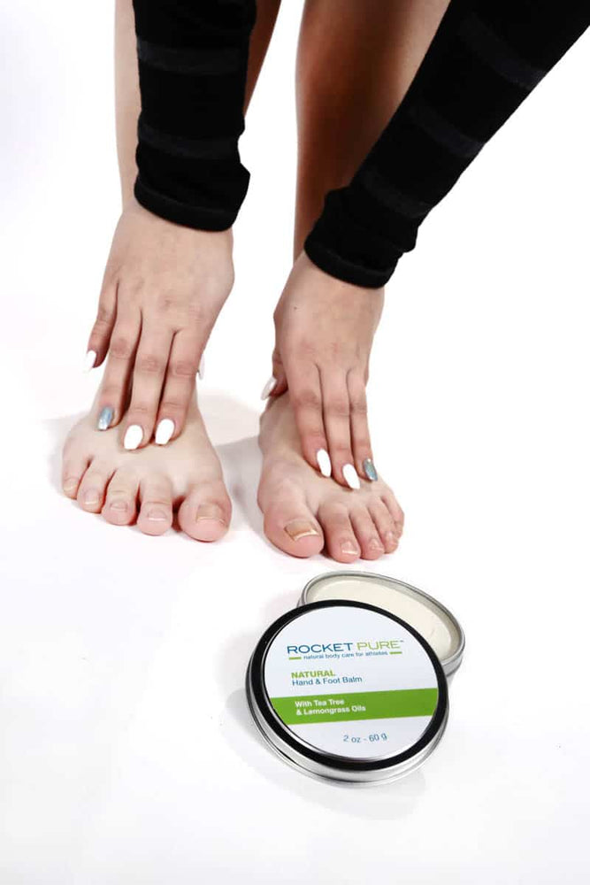 Rocket Pure Lemongrass Hand and Foot Balm applied to feet