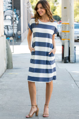 Naddie Striped dress in Navy