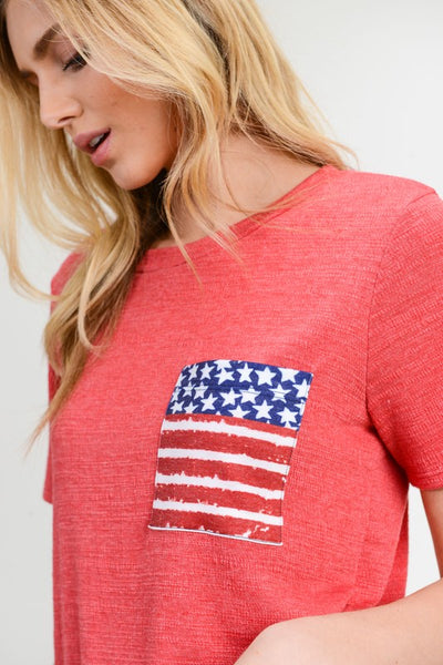 Flag Tee in Red