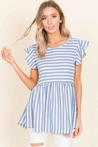 Baby Blue striped ruffle top
