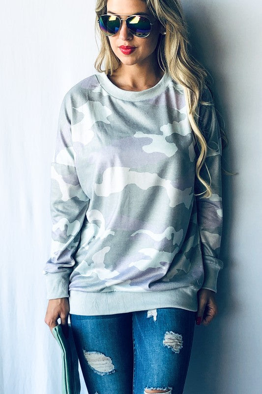 Roxanne Camo Top in Mint