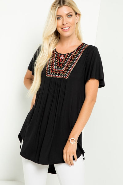 Hadley Embroidered Top in Black