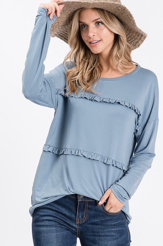 PLUS marvie ruffle top in denim