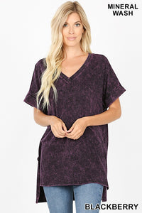 Shara mineral washed Tee- blackberry