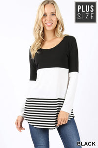 PLUS Lizzie colorblock stripe top- 2 colors