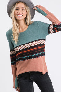 Aztec Print top in Marsala