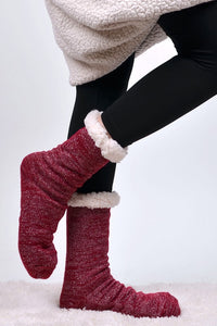 Women's sparkly slipper socks- red