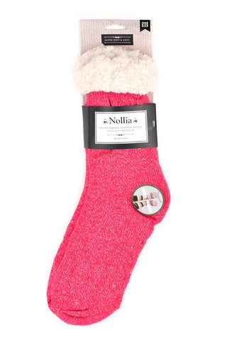 Women's sparkly slipper socks- hot pink