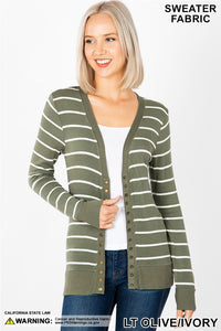Oh SNAP Striped Cardigan in Olive