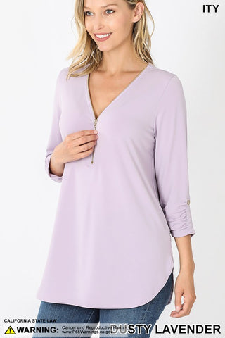 Lori zip up top in lavender