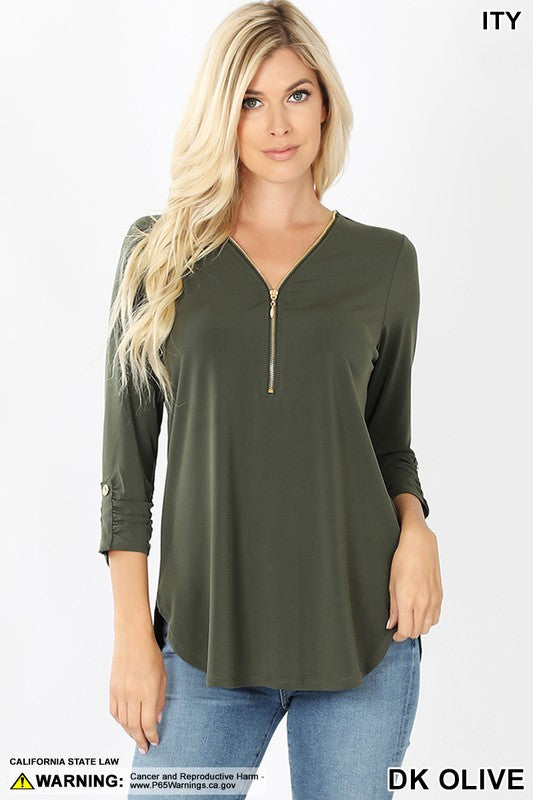 Lori zip up top in olive