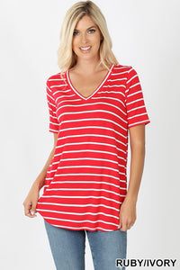 Striped v-neck 4 colors