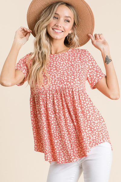 Ditsy Floral Babydoll Top in Coral
