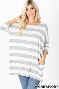 Striped Dolman in Grey
