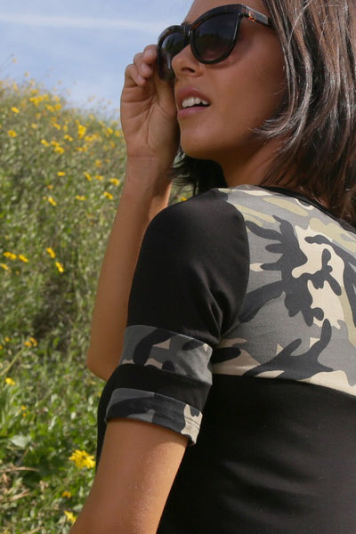 Black Camo Accent Top
