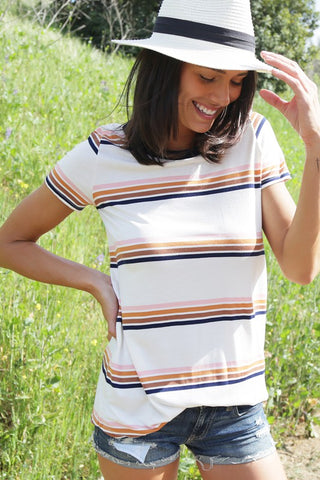 Macy Cream Stripe Top