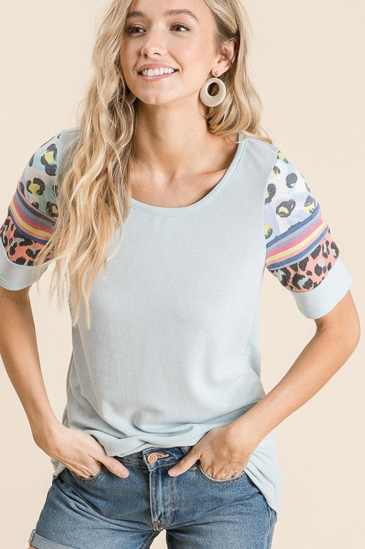 Patchwork Knit top in blue