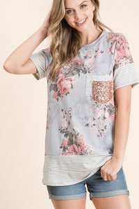 Tylor Floral Knit top in Grey