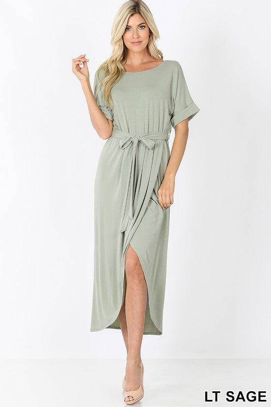 Belted Tulip Dress in Sage