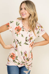 Pinky Peach cross front/knot top