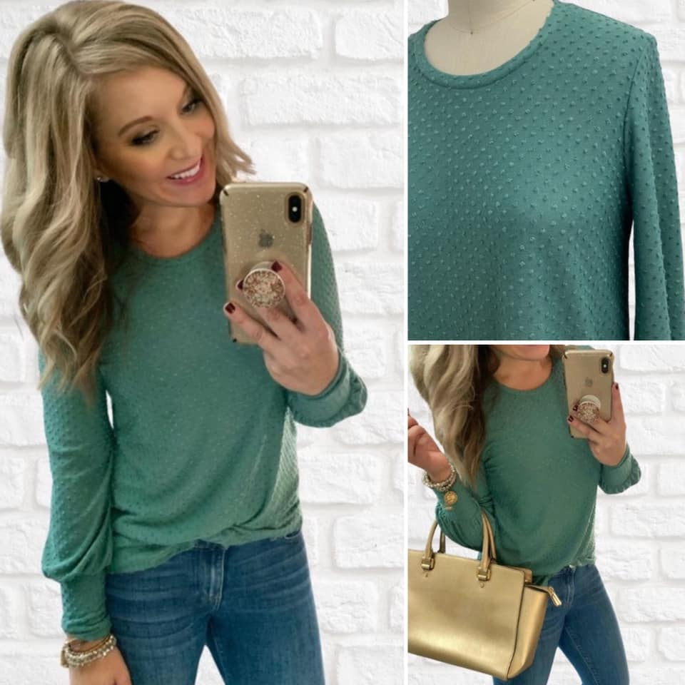 Minty Green polka dot top