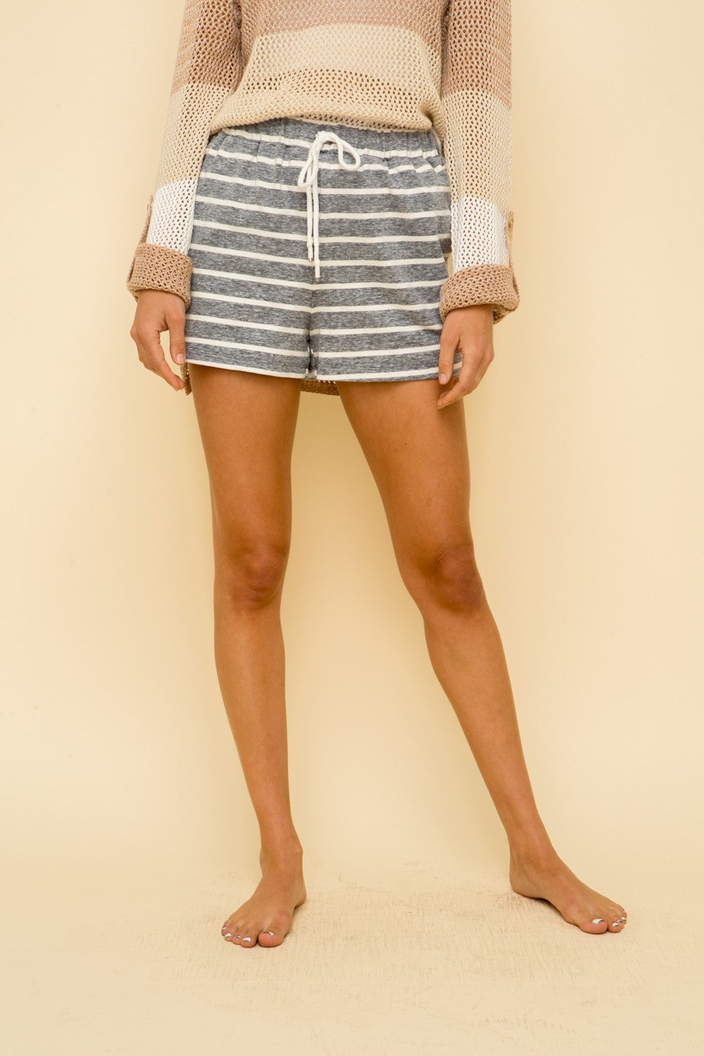 Stripe French Terry Shorts in Grey