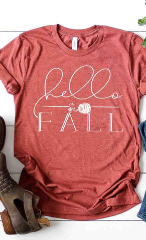 Hello Fall Graphic Tee in Rust