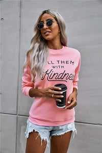kill them with kindness sweater in hot pink