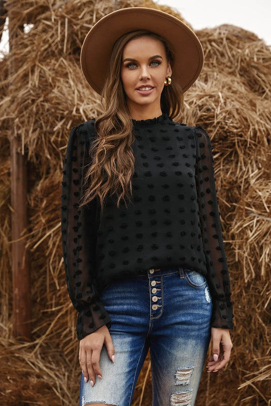 Polka Dot Blouse in Black