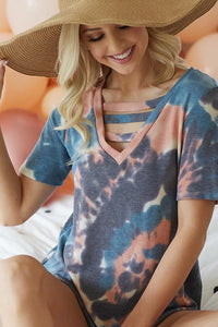 Tiedye cut out tee
