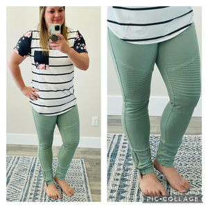 Moto Jeggings in Sage