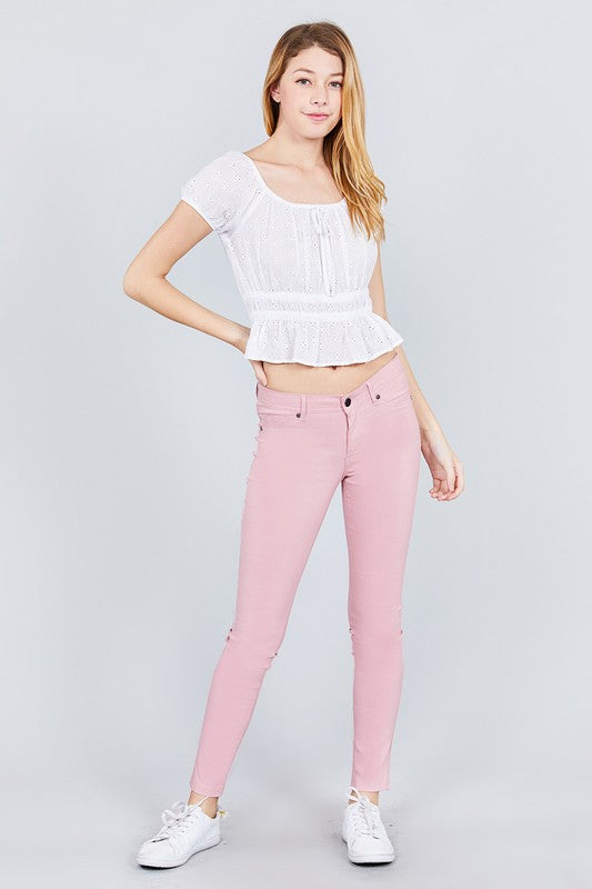 Lizzie 5 pocket Skinnies in Dusty Pink