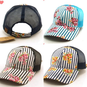 CC floral/stripe hats