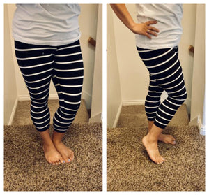 Buttery soft black/white striped leggings Capri