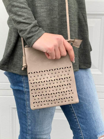Dot Dot crossbody bag in Taupe